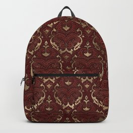 Persian Oriental Pattern - Red Leather and gold Backpack