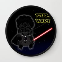 darth Wall Clocks featuring Darth by Afro Pig