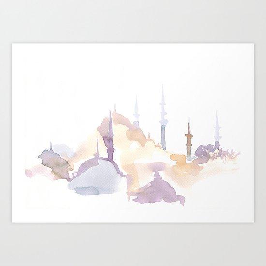 Watercolor landscape illustration_Istanbul - Saint Sophia Art Print