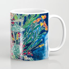 Yellow and Red Australian Wildflower Bouquet in Pottery Vase on Navy, Original Still Life Painting Coffee Mug