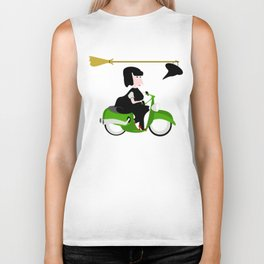 Witch Riding a Green Moped Biker Tank