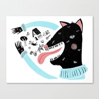 bad wolf Canvas Prints featuring Bad Wolf by Strawberry Moth