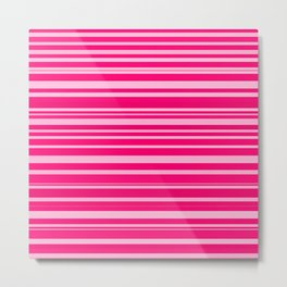 Bright hot and pale pink abstract horizontal linework Metal Print