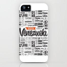 Venezuela Lettering Design - Black and white iPhone Case