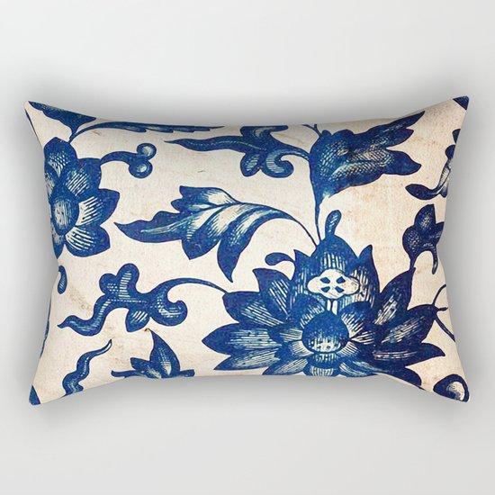 Blue Oriental Vintage Tile 06 Rectangular Pillow