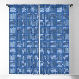 Geometrical grey lines pattern on blue Blackout Curtain