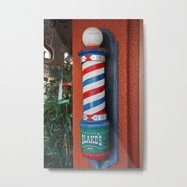 Blake's Barbershop Pole Vector I Metal Print