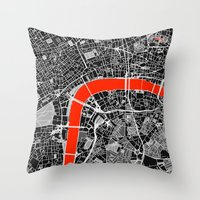 london map Throw Pillows featuring London Map by Dizzy Moments