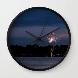 Fireworks Over Lake 21 Wall Clock