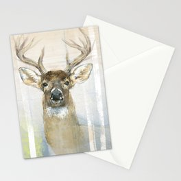 White-tailed Deer Surrounded By Birch Stationery Cards