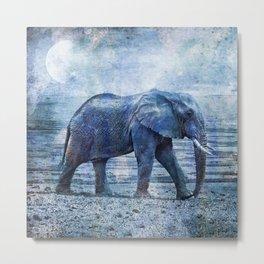 The Elephants Journey Blue Moon Metal Print
