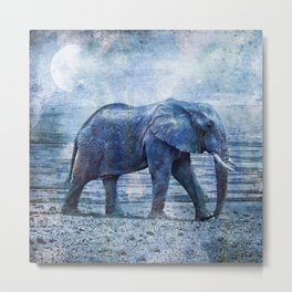 The Elephants Journey Blue Moon Metal Print
