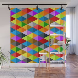 Modern bright funky colorful triangles pattern Wall Mural