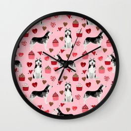 Husky Siberian Huskies dog breed valentines day love pattern print by pet friendly for dog person Wall Clock