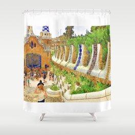 Park Guell, Barcelona, Spain Shower Curtain
