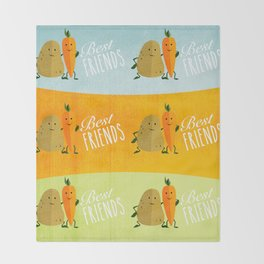 Best Friends - Carrot&Potato Throw Blanket