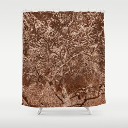 Wooden Cherry Blossom Impressions Shower Curtain