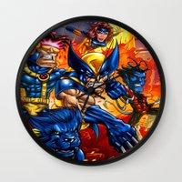 x men Wall Clocks featuring X - MEN by Vincent Trinidad