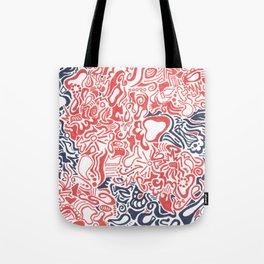 Orange and Blue Line Art Tote Bag
