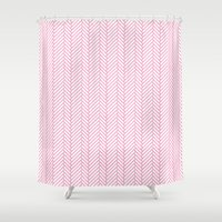 herringbone Shower Curtains featuring Herringbone Pink by Project M