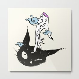 Cute Black Cat Head And Witch Hand Metal Print