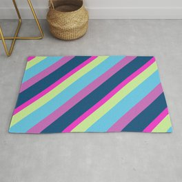 Summer fun Blue pink lime Colorful lines Rug
