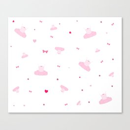 A Very Pink Ballerina Pattern Canvas Print
