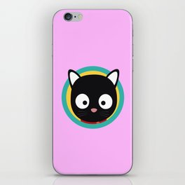 Black Cat with Green Circle iPhone Skin