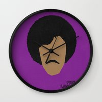 phil jones Wall Clocks featuring Rock Legends - Phil Lynott by sbsiceland