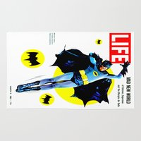 60s Area & Throw Rugs featuring Life Magazine - 60s Pop Bats by Cult Posters