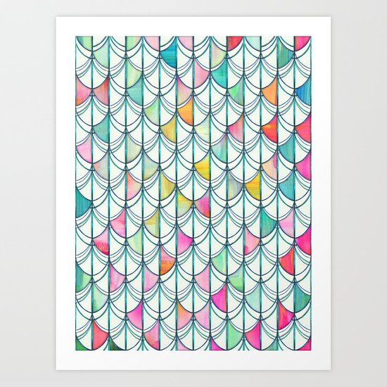 pencil paint fish scale cutout pattern white teal yellow pink art