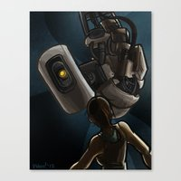 glados Canvas Prints featuring GlaDOS and Chell by quietsnooze