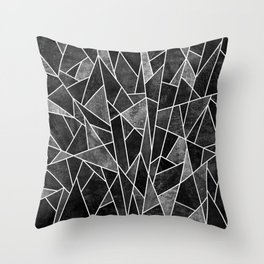 Shattered Black Throw Pillow