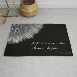 Black and White Fluffy Dandelion Weed Seed Head with Quote  Rug