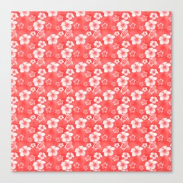 Red Hibiscus Honu Hawaiian Pattern Canvas Print