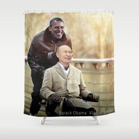 """obama Shower Curtains featuring Putin And Obama in """"Les Intouchables"""" by Luigi Tarini"""