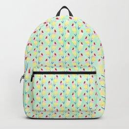 Cute Watercolor rainbow finch bird Mint Pattern Backpack