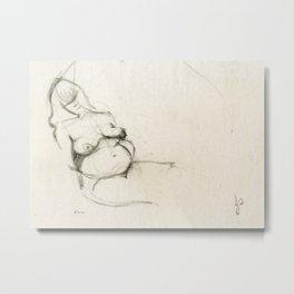 Nude Woman Drawing Sketch in Charcoal Black and Beige Female Figure Gesture Metal Print