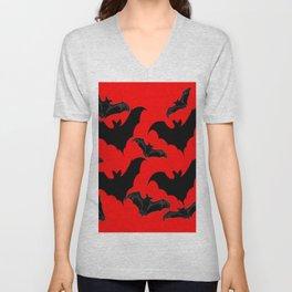HALLOWEEN BATS ON BLOOD RED DESIGN Unisex V-Neck