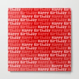 Happy Birthday on Red Metal Print