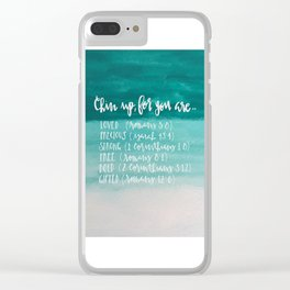 chin up (teal) Clear iPhone Case