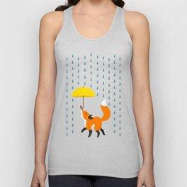 Happy as a Fox balancing an Umbrella in the Rain Unisex Tank Top