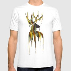 Painted Stag Mens Fitted Tee SMALL White
