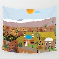 arab Wall Tapestries featuring Peaceful Arab village In the desert by Design4u Studio