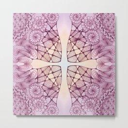 Vineyard Sunrise Zentangled Cross Tile Doodle Design Metal Print