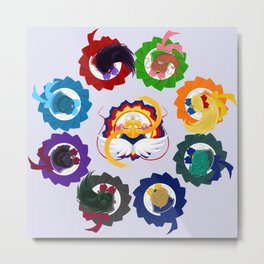Spinning Senshi - Eternal + Supers Metal Print