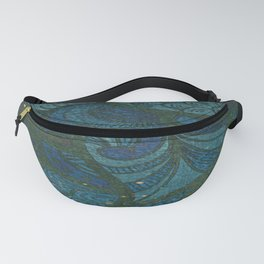 Paisley Leaf Abstract Pattern with Glitter Blue Green Aqua Fanny Pack