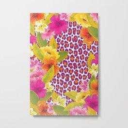 Floral Leopard  Metal Print