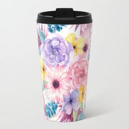 Modern elegant pink lavender yellow watercolor floral Travel Mug