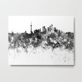 Shanghai skyline in black watercolor Metal Print